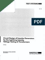 Circuit Design of Impulse Generators for the Lightning Impulse Voltage Testing of Transformers