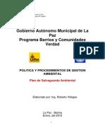 Poltica y Procedimientos de Gestion Ambiental Pbcv