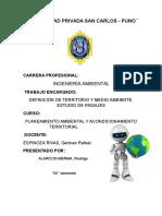 Informe Fisico Definicion de Territorio y Medio Ambiente, Estudio de Paisajes