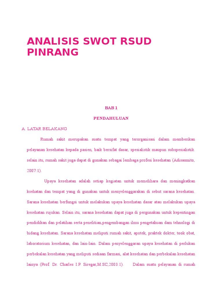 Analisis Swot Rsud Pinrang