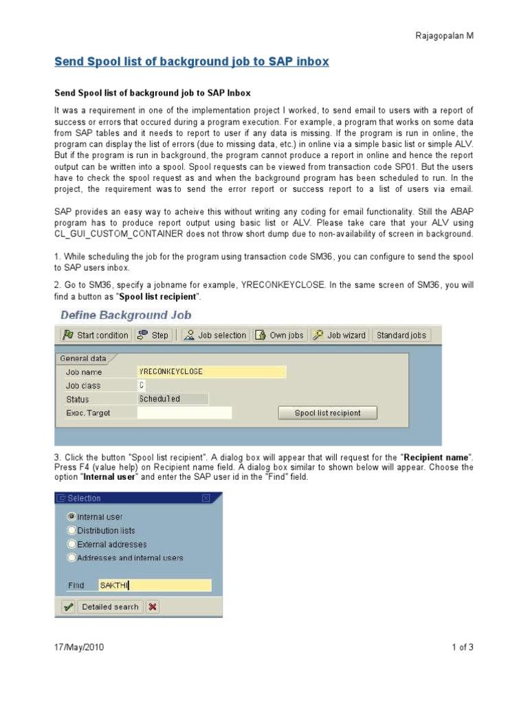 Send Spool List of Background Job to SAP Inbox &