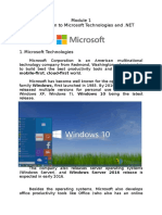 Introduction to Microsoft Technologies and .NET