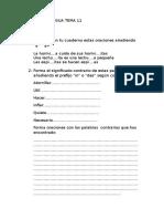 Examen de Lengua Tema 11 3º Primaria