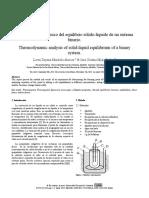 Analisis Termodinamico Equilibrio Solido Liquido de Un Sistema Binario