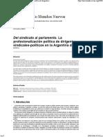 Del Sindicato Al Parlamento. La Profesionalización Política de Dirigentes Sindicales-políticos en La Argentina Del SigloXX