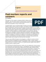 Post-mortem Reports and Coroners