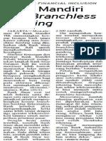 Bank Mandiri Kaji Branchless Banking (PERBANKAN, Bisnis Indonesia, 21 Februari 2013)