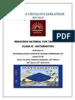 MATHEMATICS RESOURCE MATERIAL FOR CLASS 9