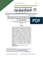 Artículo Prevalencia de Trastornos Mentales y Los RRHH en Salud Mental en El Salvador Vol18b No3, 2015