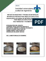 Equivalencia de Arena de Materiales Pretreos Para Mezclas Asfalticas