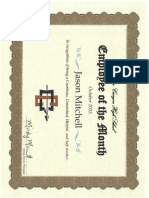 Copy of Employee of the Month Certificate