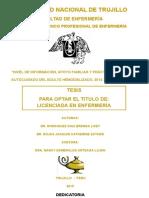 """INFORME de TESIS """"NIVEL DE INFORMACIÓN, APOYO FAMILIAR Y PRÁCTICAS DE AUTOCUIDADO DEL ADULTO HEMODIALIZADO, 2014"""
