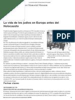 La Vida de Los Judíos en Europa Antes Del Holocausto