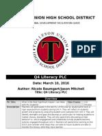 Q4 Literacy PLC Plan 2016