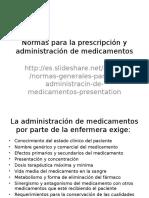Normas Para La Prescripción y Administración de Medicamentos
