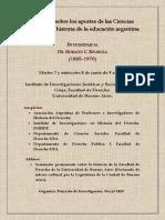 Programa definitivo de las I Jornadas sobre los aportes de las Ciencias Jurídicas a la historia de la educación argentina. En homenaje al Dr. Horacio C. Rivarola (1885-1970).
