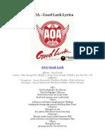 AOA - Good Luck Lyrics
