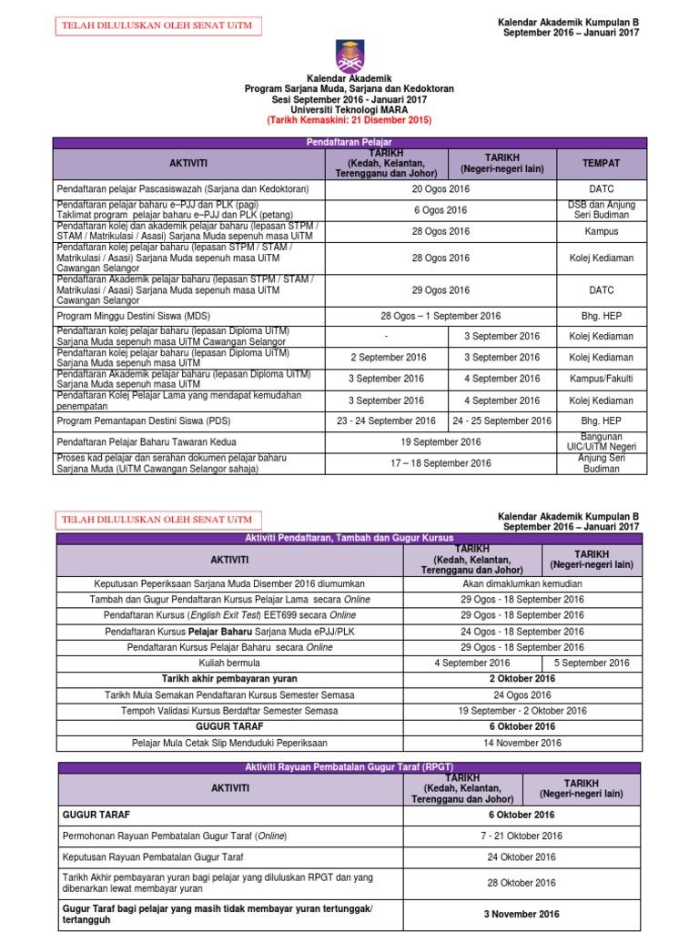 Kalendar Akademik Sesi 2016 2017 Kump B Sept 2016 Lulus Senat