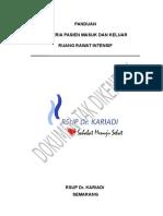 Panduan Kriteria Pasien Masuk Dan Keluar Ruang ICU Dan HCU (Ruang Rawat Intensif) Rev. 0