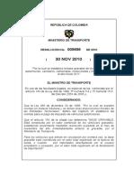 Resolucion No. 005256 Noviembre 30 2010 Automolviles, Camperos, Camionetas Motocicletas y Motocarros