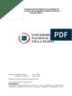 """Teorías de La Comunicación III- Informe """"Los Estudios de Comunicación y Cultura en La Argentina- Modelos Teóricos y Revisión Crítica"""""""
