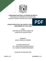 Producción Social, Espacio Público de los Asentamientos Populares