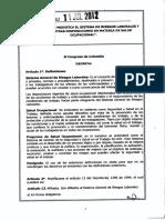 Ley 1562 de 2012 Sistema de Riesgos Laborales