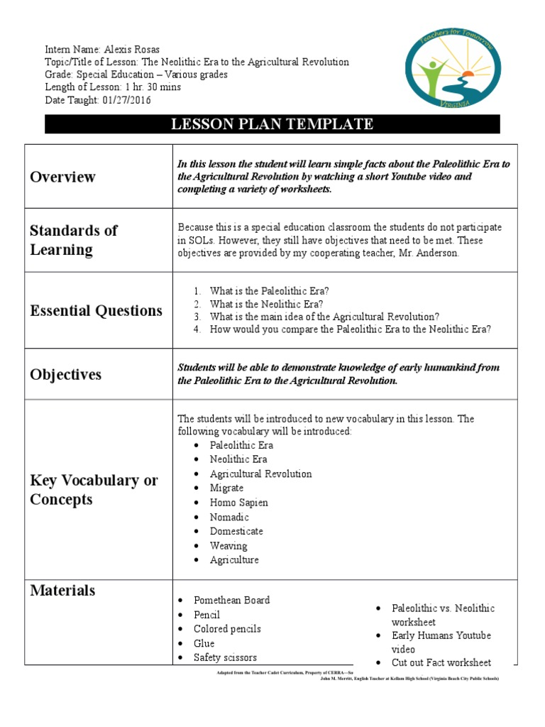 Lesson Plan Early Humans Paleolithic Lesson Plan