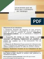 Obligaciones que se derivan del contrato de trabajo