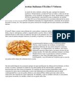 Las diez Mejores Recetas Italianas Fáciles Y Veloces