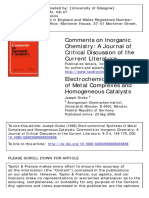 Electrochemical Synthesis of Metal Complexes and Homogeneous Catalysts