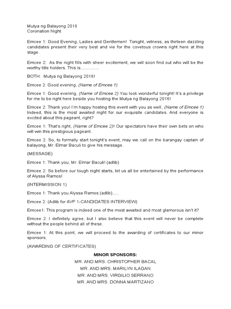 sample emcee script for coronation night