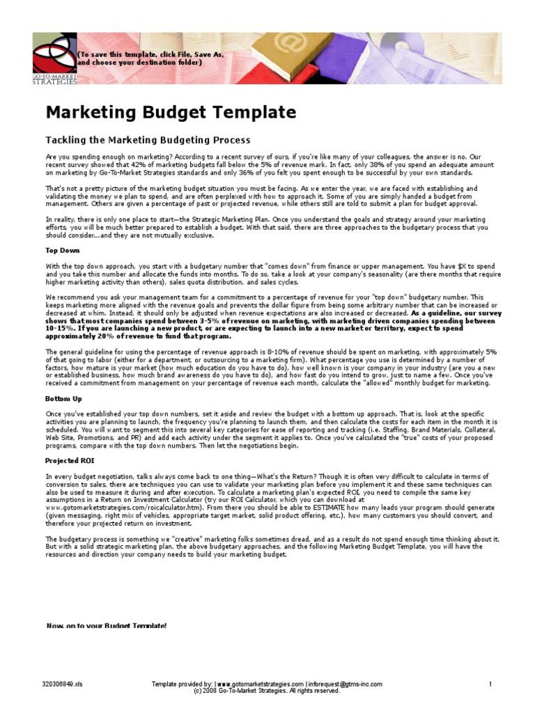 Sample Marketing Budget Template Return On Investment Marketing