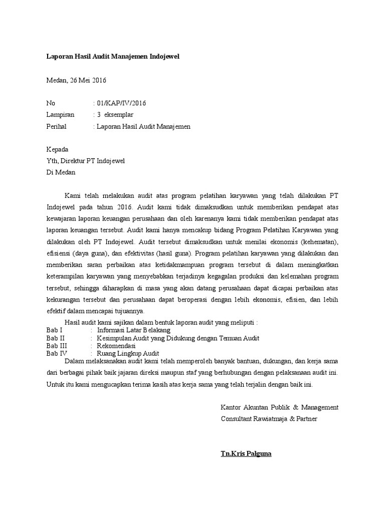Laporan Hasil Audit Manajemen Indojewel