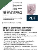 Etapele Planificării Activității de Educație Pentru Sănătate