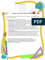 create your own school project  instructions rubric