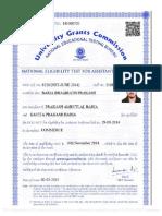Sample of UGC NET Certificate