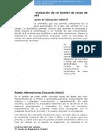 Observación y Evaluación de Un Boletín de Notas de Educación Infantil