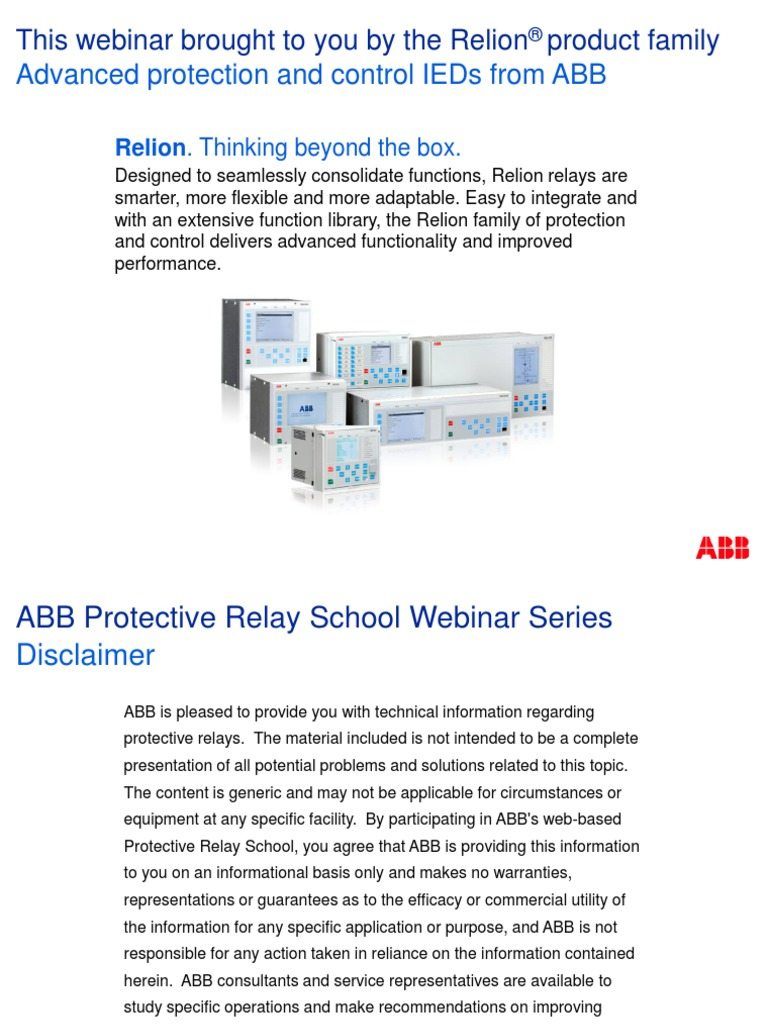 Feeder Protection Fundamentals Fuse Electrical Relay - Abb basic relay school