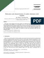 45 Fabrication and Caracterization of Anodic Aluminium Oxide Template