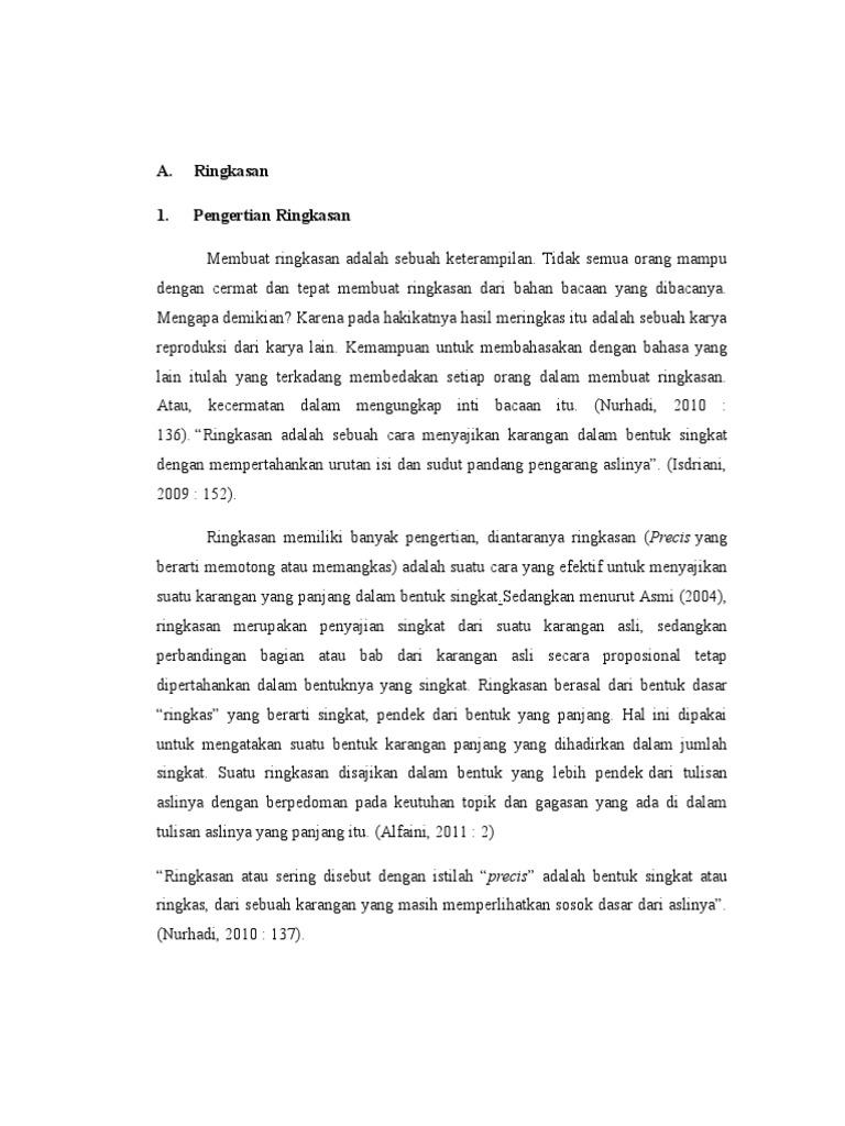 Makalah B Indonesia Ringkasan Dan Abstrak