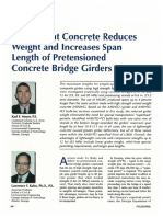 Lightweight Concrete Reduces Weight and Increases Span Length of Pretensioned Concrete Bridge Girders