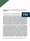 Conciencia y Autoconciencia en Hegel y Huserl