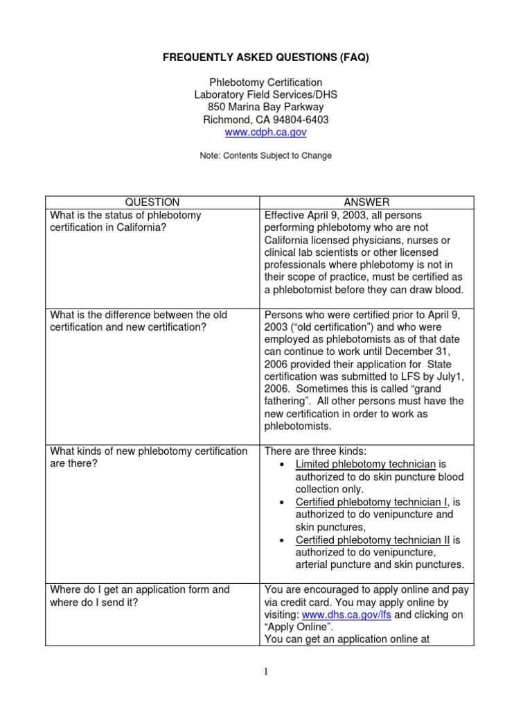 Phlebotomy faq071106 professional certification health care xflitez Choice Image