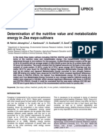 Determination of the nutritive value and metabolizable energy in Zea mays cultivars
