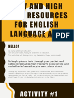 low and high tech resources for english  language