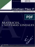 Matrices y Sistemas Lineales - Christian Páez Páez