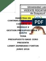 Presupuesto Base Cero Lenny Zambrano