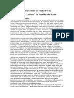 Brasil Urgente o Mito Do Ldeficitr e Da Necessidade de Lreformar Da Previdencia Social