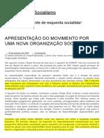 Apresentação Do Movimento Por Uma Nova Organização Socialista _ Movimento Ao Socialismo - Ok